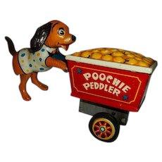 "Vintage Tin Toy Wind Up Poochie Puppy Dog Peddler Japan  4"" Tall"