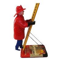 "Vintage Marx Wind Up Toy Climbing Fireman  22 3/4"" Tall"