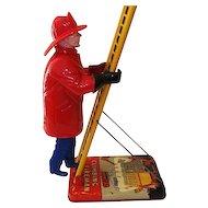 "Vintage Marx Wind UpToy Climbing Fireman  22 3/4"" Tall"