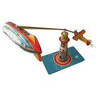 Unique Art Wind Up Tin Toy Sky Ranger with Zeppelin and Plane