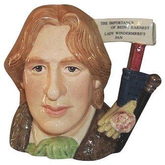 "Royal Doulton Oscar Wilde Character Jug D 7146 7 1/2"" Tall with COA"