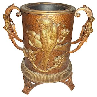 """Hammered Copper Vessel Loving Cup Footed   7 1/2"""" Tall"""