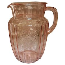 "Anchor Hocking Depression Glass Mayfair / Open Rose Pink Pitcher 8"" 60 Ounces."