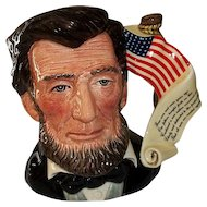 "Royal Doulton Abraham Lincoln character Jug Presidential Series  D 6936 7"" Tall"