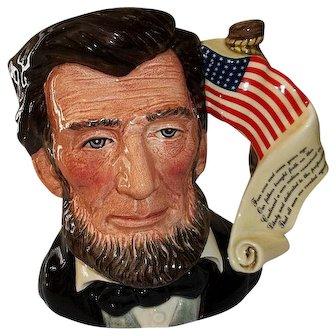 "Royal Doulton Abraham Lincoln character Jug Presidential Series  D 6936 7"" Tall"