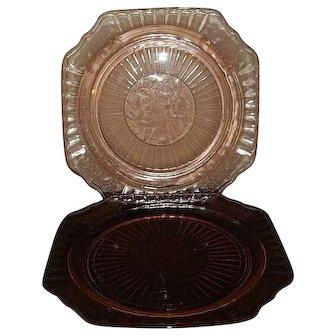 "Pair (2) Anchor Hocking Depression Glass Dinner Plates Mayfair/Open Rose 9 1/2"""
