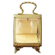 Antique French Vitrine Watch Holder Gild/Brass with Beveled Glass  5""
