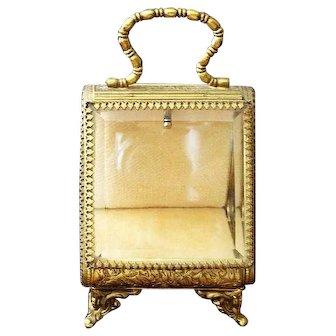 "Antique French Vitrine Watch Holder Gild/Brass with Beveled Glass  5"""