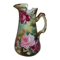 """Nippon Japan Hand Painted and Signed Pitcher  Vivid Roses  6 3/4"""" Tall  Maple Leaf Logo."""