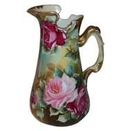 "Nippon Japan Hand Painted and Signed Pitcher  Vivid Roses  6 3/4"" Tall  Maple Leaf Logo."