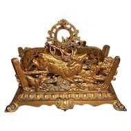 Bradley and Hubbard Brass Plated Cast Iron Letter Holder Deer Scene with Dogs.