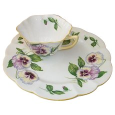 Shelley Porcelain Pansy Toast or Snack Set  Plate and Cup
