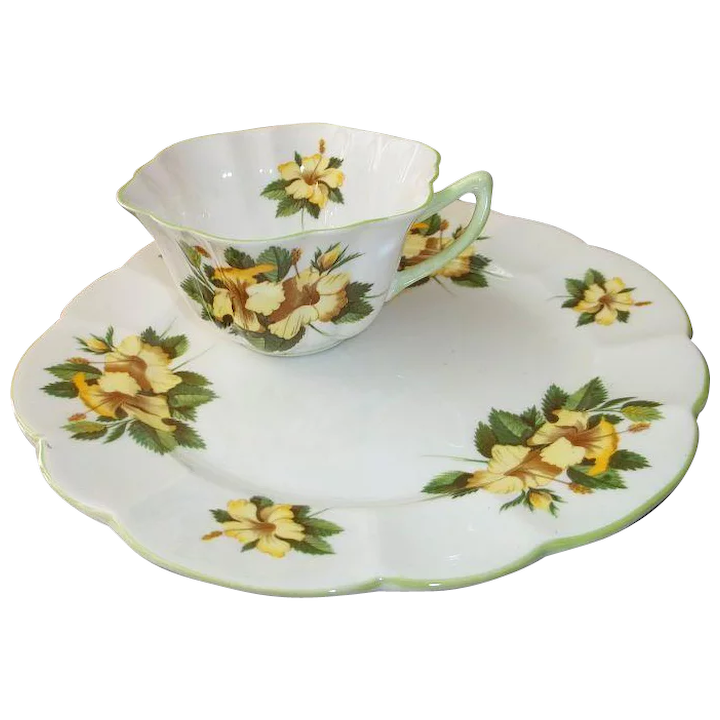 Shelley Porcelain Hibiscus Toast Snack Plate And Cup Set England