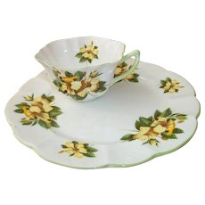Shelley Porcelain Hibiscus Toast / Snack Plate and Cup Set  England