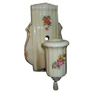 Art Deco Porcelain Wall Light Sconce with Floral Pattern