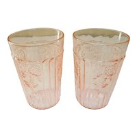 Pair Anchor Hocking Mayfair / Open Rose Pink Depression Juice Tumblers