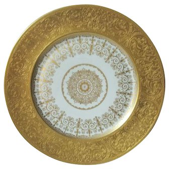 Heinrich & Co. Selb Germany 22K Gold Dinner Plate Decorated In U.S.