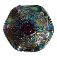 Fenton Art Carnival Glass Hearts and Vines Amethyst Bowl