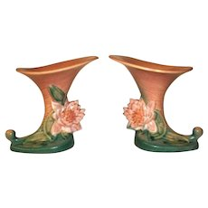Roseville Pottery Pair Pink Water Lily Cornucopia Vases  177 6