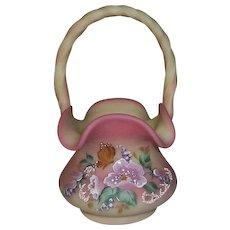 Fenton Art Glass Burmese Butterfly Basket Limited Edition