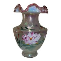 Fenton Art Glass Water Lily Rose Crest Opalescent Vase Signed and Sticker