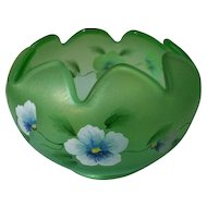 "Fenton Art Glass Bowl Pansy  Morning Hand Painted  4 1/2"" Tall"