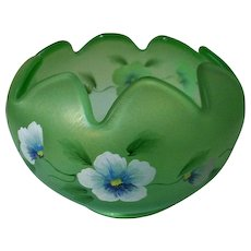 """Fenton Art Glass Bowl Pansy  Morning Hand Painted  4 1/2"""" Tall"""