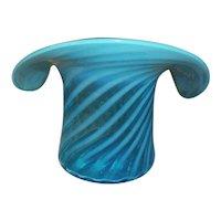 "Fenton Large Blue Spiral Optic Top Hat Vase  6 "" Tall"