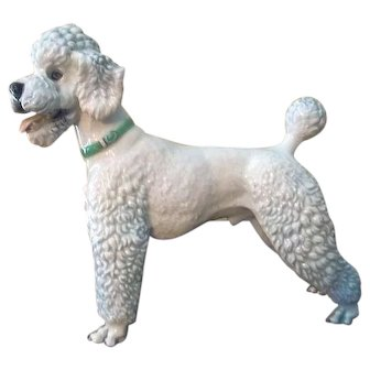 "Rosenthal Germany White Poodle Dog Figurine 1211 by Karner  7 1/4"" Tall"