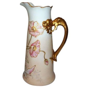 "Limoges Jean Pouyat Pitcher with Dragon Handle  10 1/2"" Tall"