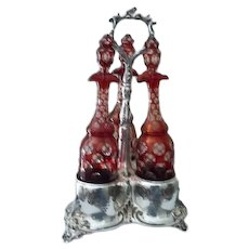 """Triple Bohemian Czech Ruby Cut to Clear Glass Wine Decanters Tantalus  19"""" Tall"""