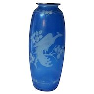 """Hawkes Crystal Blue Etched Bird of Paradise Vase 8"""" Tall"""