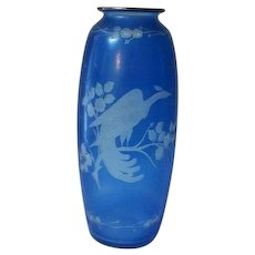 "Hawkes Crystal Blue Etched Bird of Paradise Vase 8"" Tall"