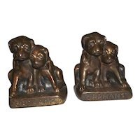 """Hubley Cast Iron Puppy Dog Orphans Bookends  4 1/2"""" Tall"""