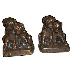 "Hubley Cast Iron Puppy Dog Orphans Bookends  4 1/2"" Tall"