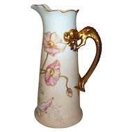 """Limoges Jean Pouyat Pitcher with Dragon Handle  10 1/2"""" Tall"""