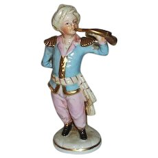 """Niderviller France Young Man Figurine with French Horn 6"""" Tall"""