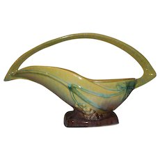Roseville Art Pottery Wincraft Green Basket  209-12""