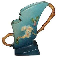 """Roseville  Pottery Blue Apple Blossoms Vase 173-7"""""""