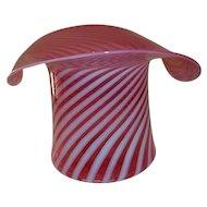 Fenton Art Glass Large Cranberry Opalescent Swirl Hat Vase