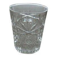 """Brilliant  Cut Glass Tumbler 3 3/4"""" Tall"""