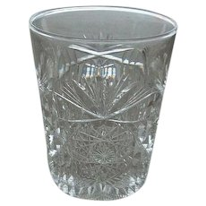 "Brilliant  Cut Glass Tumbler 3 3/4"" Tall"