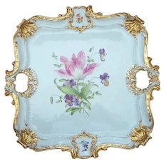 Meissen Germany Porcelain Handled Tray