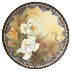 """Nippon Japan Floral Wall Plate with Moriage  9 1/2"""" Wide"""