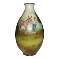 "Royal Bayreuth Porcelain Vase Boy and Donkey  4 1/2"" Tall"