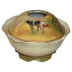 Royal Bayreuth Porcelain Hair Receiver Cows and Birch Trees.