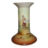 """Royal Bayreuth Candle Stick Holder Woman with Geese or Ducks  4 1/4"""" Tall"""
