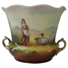 Royal Bayreuth Porcelain Open Sugar or Vase Girl with Geese