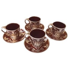 Four Lenox Mauser Sterling Overlay Brown Porcelain Demitasse Cups and Saucers