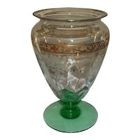 """Hawkes Etched Signed Crystal Vase with Steuben Blank  8 3/4"""" Tall"""